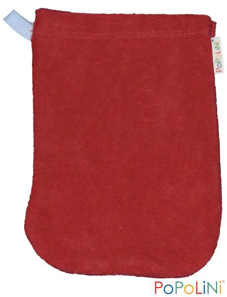 Popolini Baby-Waschhandschuh in rot aus Bio-Baumwolle