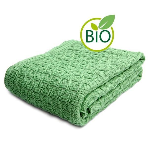 Baby-Strickdecke aus Bio Baumwolle in grün von Sonnenstrick