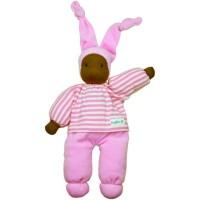 Waldorfpüppchen aus Bio Schafswolle in rosa mit farbigem Gesicht