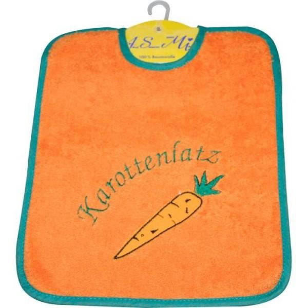Klettlätzchen groß mit Motiv Karottenlatz in orange