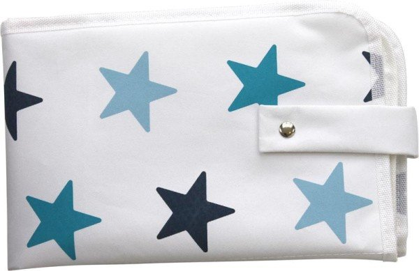 Dooky Wickelunterlage für unterwegs mit Taschen in weiß mit blauen Sternen