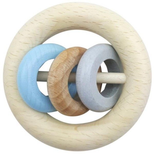 Hess Baby-Rundrassel aus Holz für Jungs mit 3 Ringen
