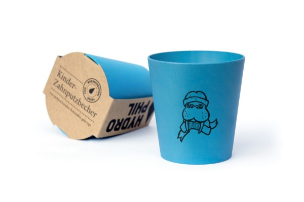 Zahnputzbecher für Kids in Blau mit MOtiv Walross