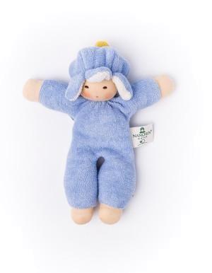 Nanchen Puppe BLUMENFEE in blau aus Bio Schafswolle