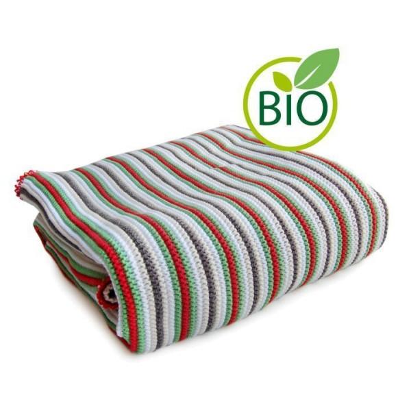 hochwertige Babydecke Bio Baumwolle rot gestreift von Sonnenstrick