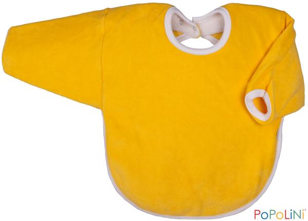 Langarm-Lätzchen aus Bio-Frottee mit Druckknopf gelb von Popolini