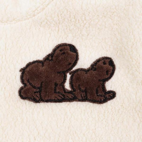 Öko Baby-Sweater aus Baumwoll-Frottee mit Bärenapplikation