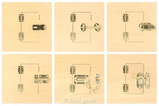 Montessori Material 6 Verschlüsse-Bretter von Bartl