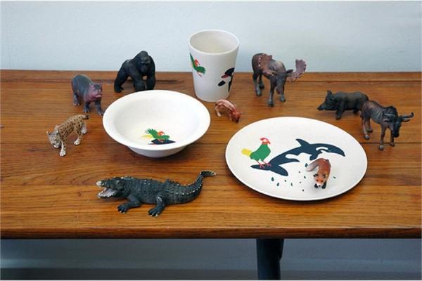 Kindergeschirr-Set aus Bambus & Mais Motiv Orca-Hahn von Zuperzozial