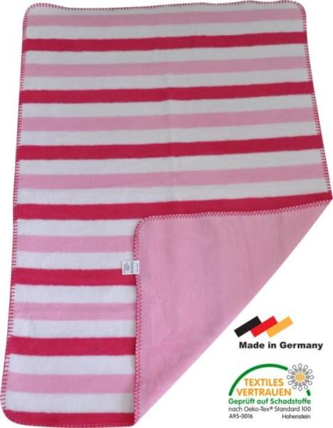 Babydecke MAREIKE aus 100% Baumwolle rot-rosa gestreift 75x100cm
