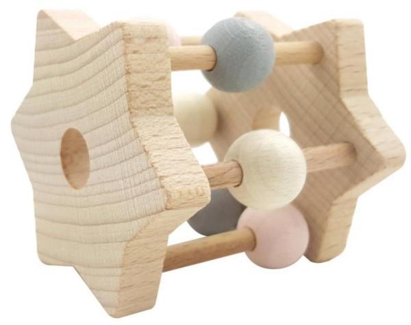 Hess Spielzeug Holzrassel STERN mit Kugeln