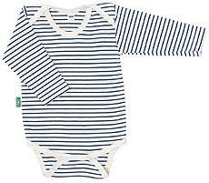 Bio Baby-Body langarm blau geringelt