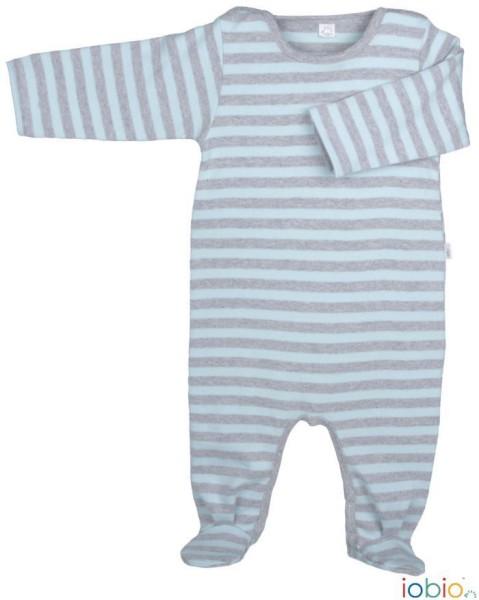 Schlafanzugoverall hellblau-grau geringelt