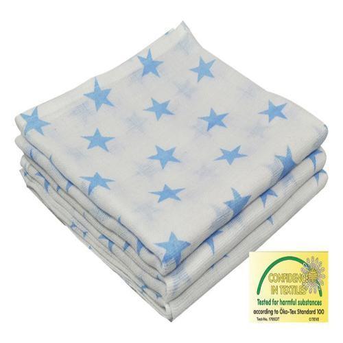 Mullwindeln Spucktücher 80x80cm für Jungen mit blauen Sternen