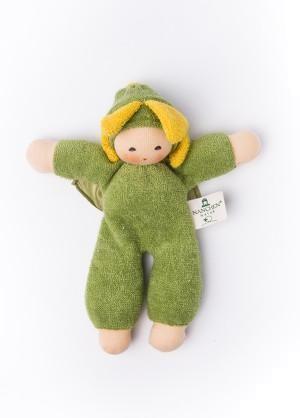 Nanchen Puppe BLUMENFEE in grün aus Bio Schafswolle