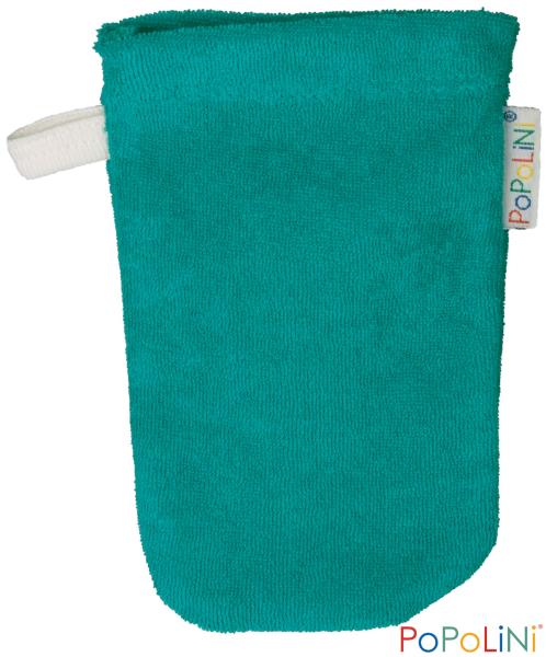 Popolini Baby-Waschhandschuh in aqua mit Schlaufe