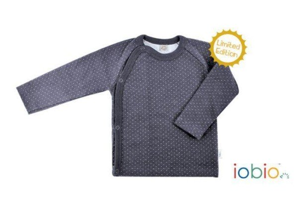 Kimono Lamgarm-Shirt für Babys aus Bio Baumwolle in grau