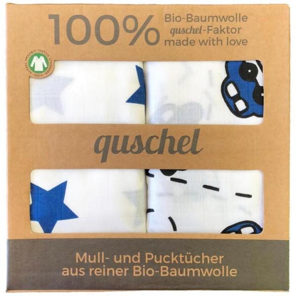 Bio-Pucktücher Autobahn & Sterne 120x120cm quschel company