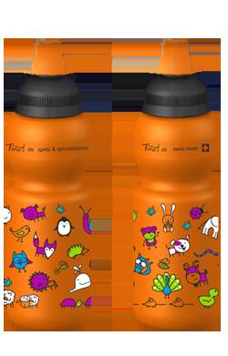 fizzi trinkflasche 330 ml auslaufsicher orange mit tierwelt. Black Bedroom Furniture Sets. Home Design Ideas