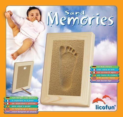 Asmi Baby-Hand & Fußabdruck Set SAND-MEMORIES mit Holzrahmen
