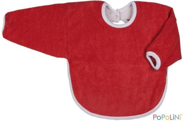 Langarm-Lätzchen aus Bio-Frottee mit Druckknopf in Rot