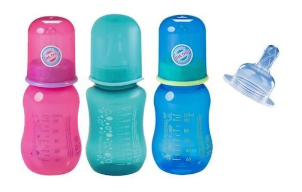 Baby-Nova Babytrinkflasche mit Silikon-Flaschensauger 130ml