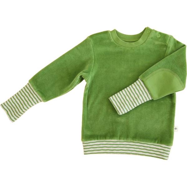 Leela Cotton Nicky Sweatshirt Weserstrand in waldgrün aus Bio-Nickystoff
