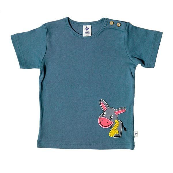 Baby Kurzarm-Shirt mit Esel-Motiv aus Bio-Baumwolle von Leela Cotton