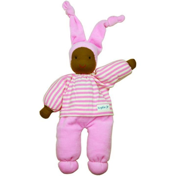 Waldorfpüppchen aus Bio Baumwolle mit Bio Schafswolle gefüllt in rosa mit farbigem Gesicht