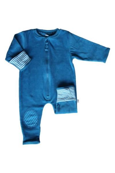Baby Nicky-Overall Pünktchen Blau-Weiß kbA von Leela Cotton