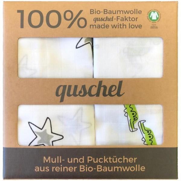 quschel Bio-Pucktücher Zoo & Sterne 100% Baumwolle 120x120cm GOTS