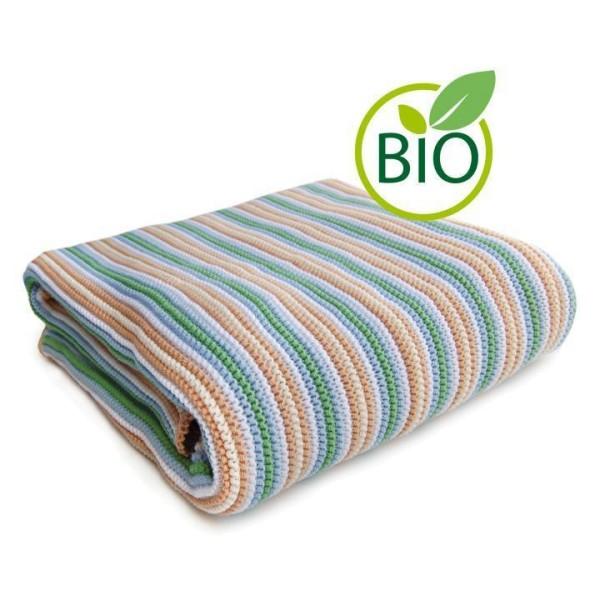 hochwertige Babydecke Bio Baumwolle grün gestreift von Sonnenstrick