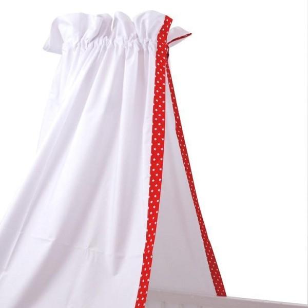 Himmel für Babybett in weiß mit rotem Sterne-Rand von Sugarapple