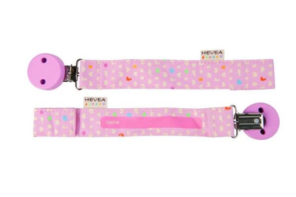 Hevea Schnullerhalter Bio-Baumwolle in pink für Mädchen
