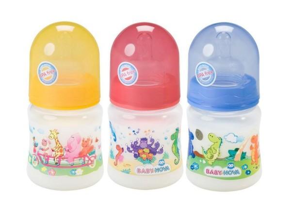 Weithalsflasche aus PP 150 ml mit bunten Motiven von Baby-Nova
