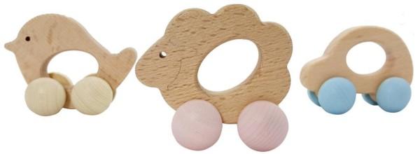 Baby Schiebefiguren Rollis aus Holz - Motorik-Spielzeug von Hess