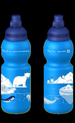 Fizzii Kinder-Trinkflasche KOhlensäure auslaufsicher 330ml in blau mit Eisbär
