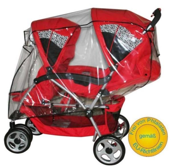 AsMi Geschwisterwagen Regenverdeck für Tandem aus klarem PVC