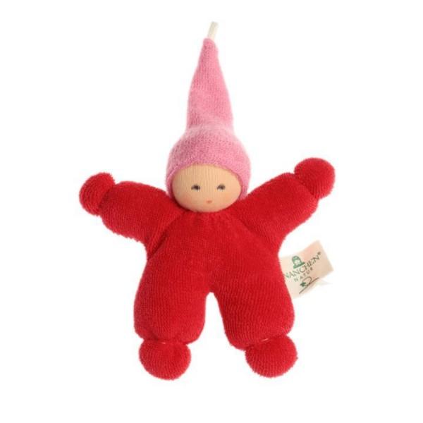 Nanchen Puppe WICHTEL aus Bio Baumwolle in rot mit rosa Mütze