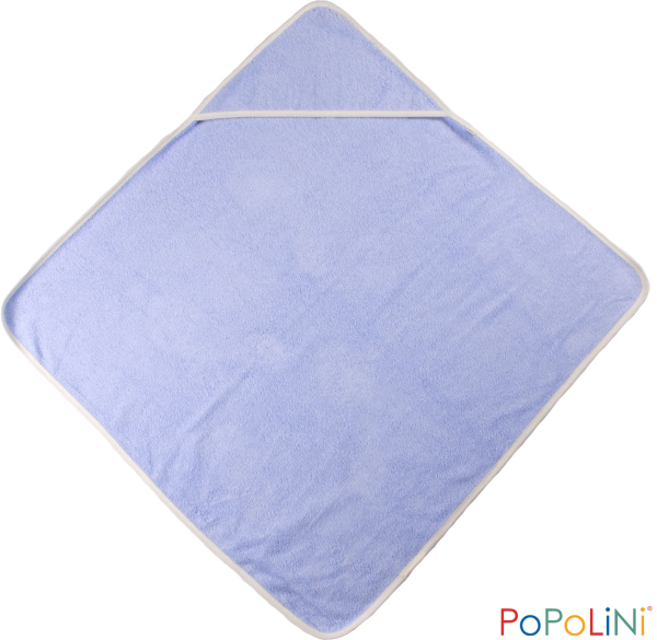 Baby Kapuzenbadetuch Bio Baumwoll-Frottee in blau von Popolini