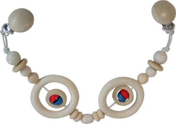 Kinderwagenkette mit 2 Ringen aus Holz von Asmi