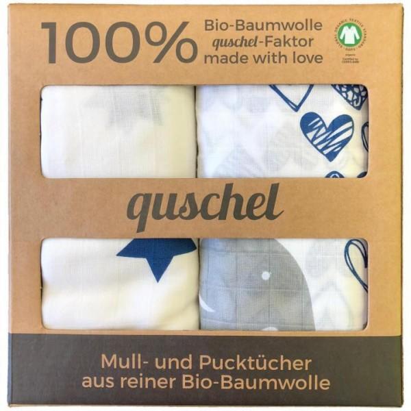 Bio-Pucktücher Elefanten Herzen & Sterne 100% Baumwolle 120x120 cm