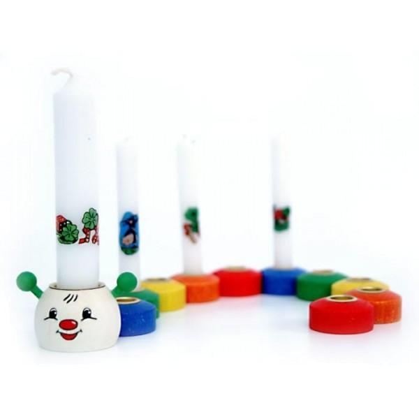 Geburtstagszug RAUPE mit 10 Gliedern, Lebenslicht & Kerzen von Hess