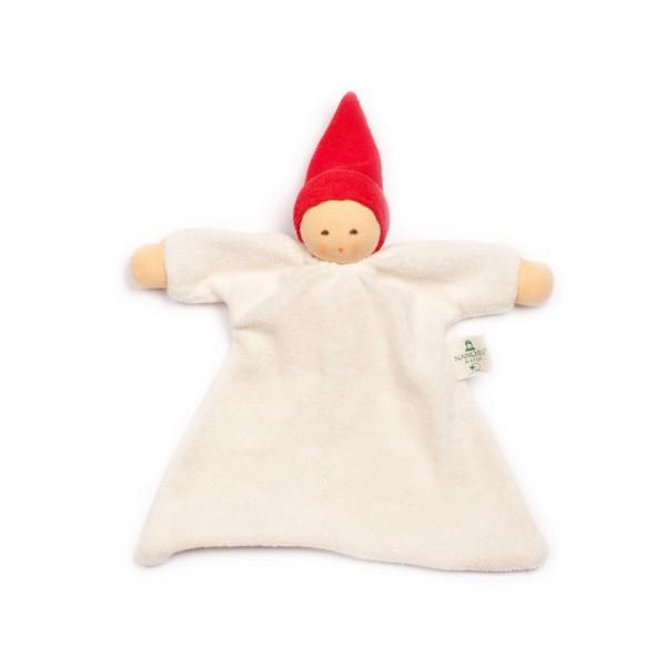 Nanchen Natur Nuckelpuppe aus Bio-Baumwolle und Bio-Schafswolle mit roter Mütze