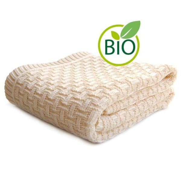 gestrickte Babydecke aus Bio Baumwolle mit Karomotiv von Sonnenstrick