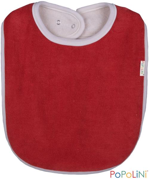 Lätzchen mit Druckknopf aus Bio Baumwolle rot von Popolini
