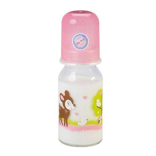 Baby-Nova Babytrinkglasflasche 125ml mit pink Kappe