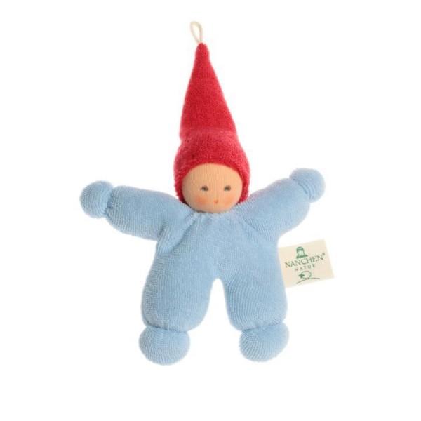 Nanchen Puppe WICHTEL aus Bio Baumwolle in blau mit roter Mütze