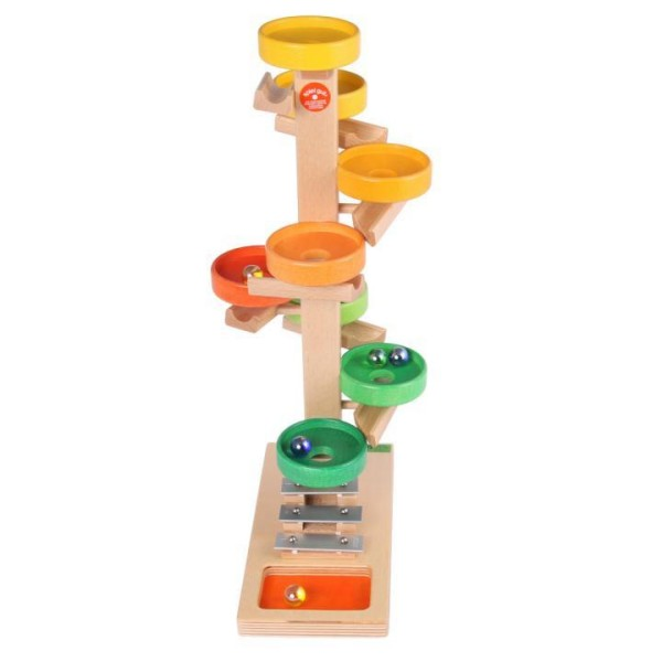 Tellerturm aus Holz mit Glockenspiel von Beck-Holzspielzeug